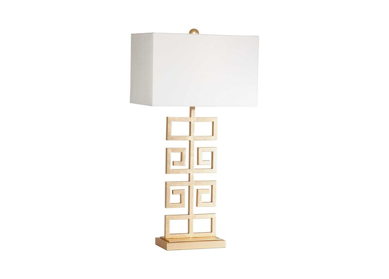 Greek Key Table Lamp, Gold