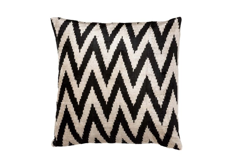 Silk Velvet Pillow, Black/Taupe | Tuggl