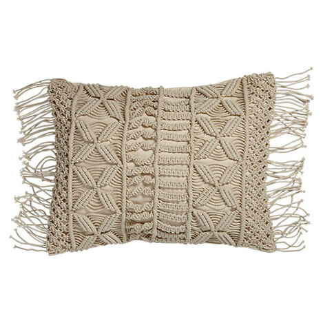 Macramé Fringed Pillow ,  , large