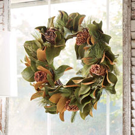 """24"""" Magnolia Leaf and Evergreen Wreath Product Tile Hover Image 442236"""