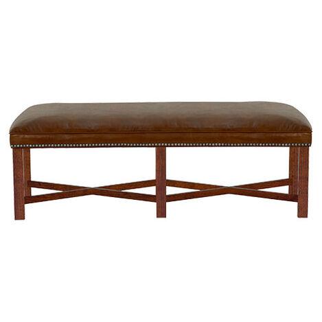 """Lyle 52"""" Leather Bench,  Old English Saddle ,  , large"""