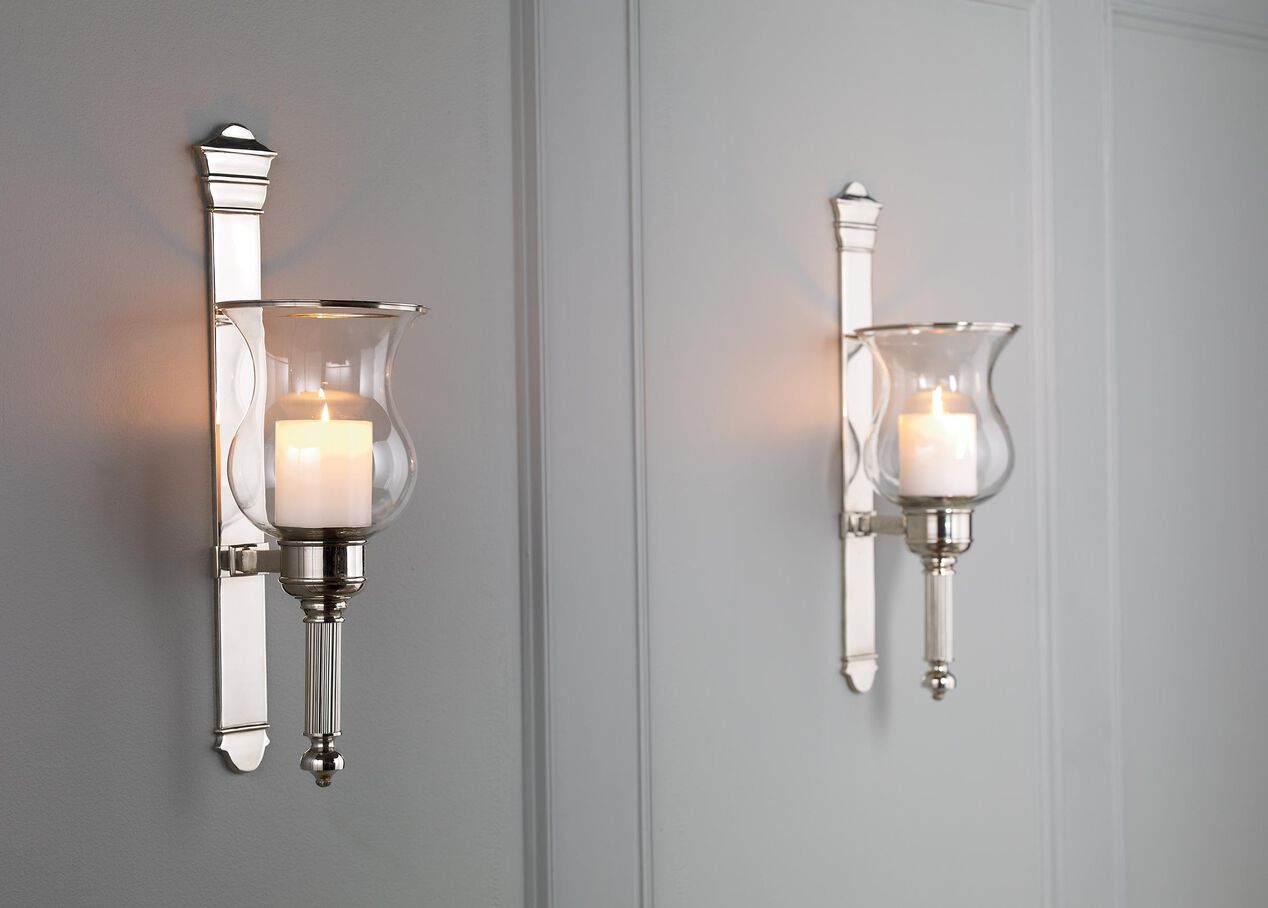 Ethan Allen Candle Wall Sconces : Tristan Nickel Wall Hurricane Candle Holders