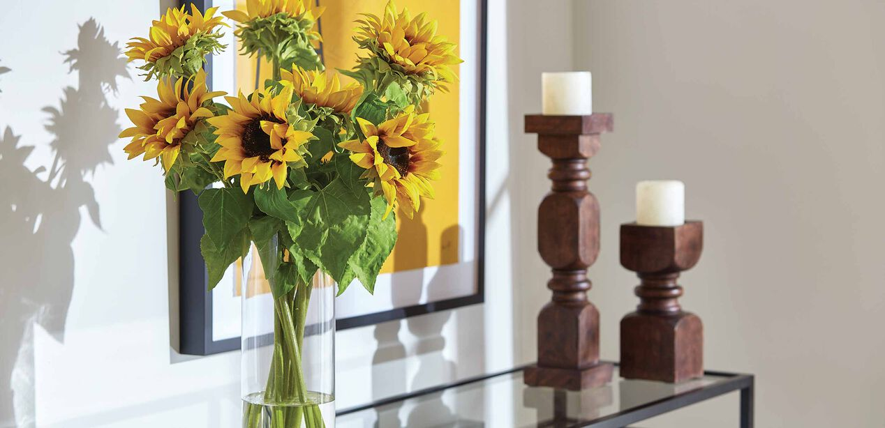 Sunflowers In Tall Vase Faux Sunflowers In Vase Ethan Allen