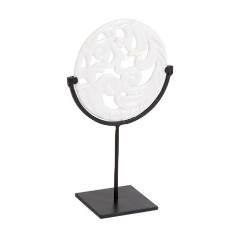 Carved White Disc on Stand ,  , large