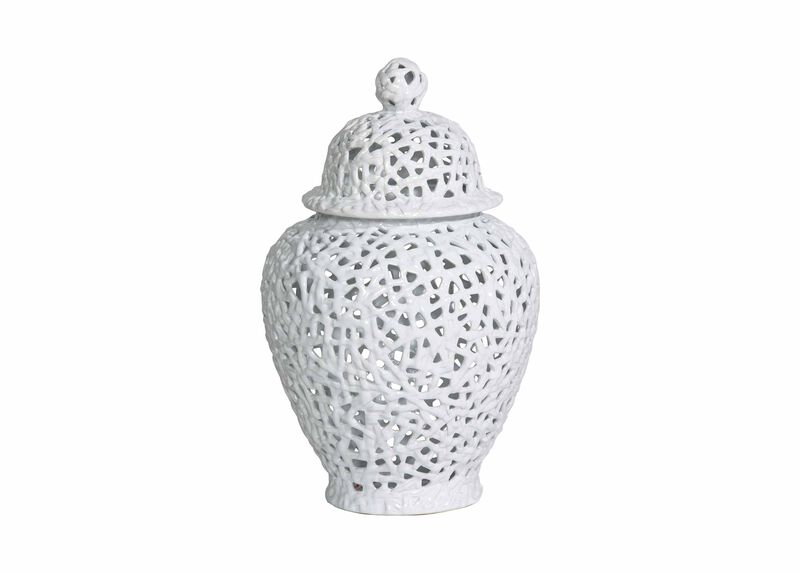 Small White Pierced Temple Jar