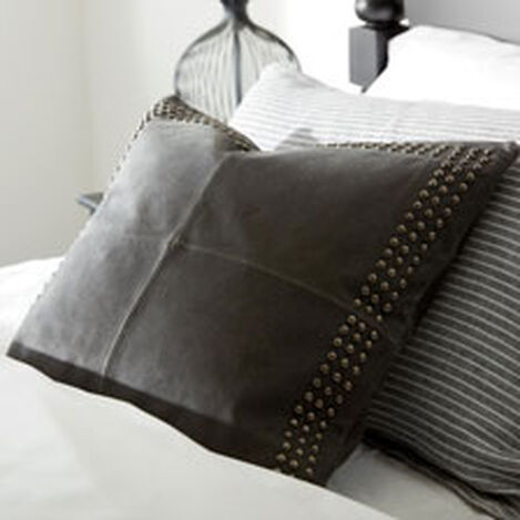 Black Worn Leather Pillow ,  , hover_image