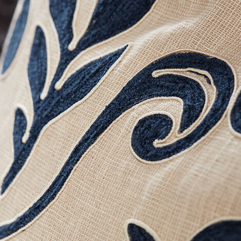 Embroidered Linen Pillow, Navy Product Tile Hover Image 065654