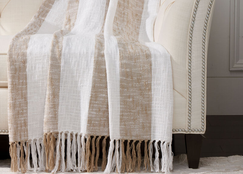 Taupe Striped Throw | Tuggl