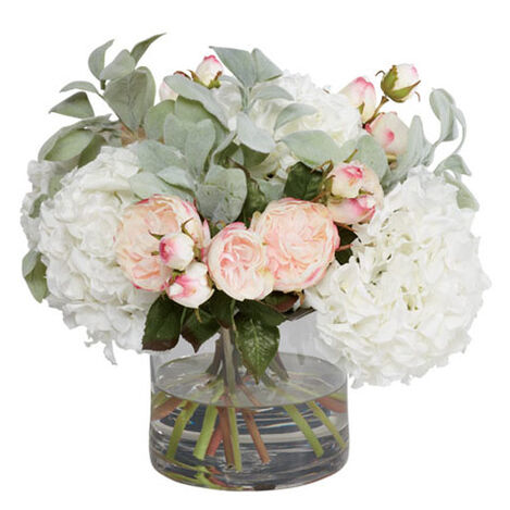 Roses & Hydrangea Branch in Vase Product Tile Image 442251