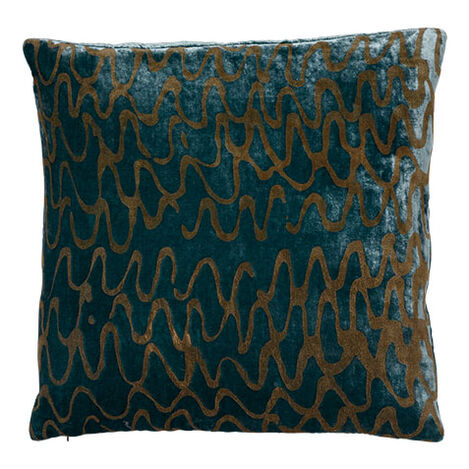 Ripple Pillow, Aqua/Gold ,  , large