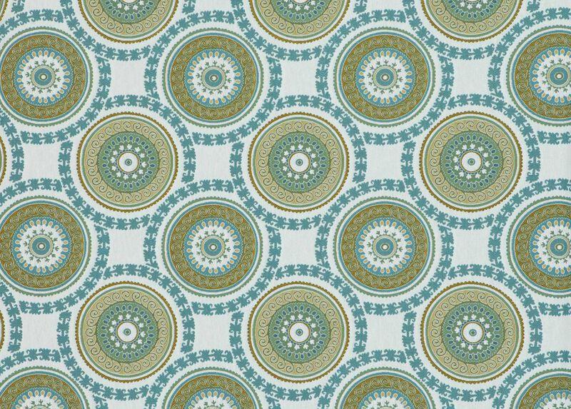 Suzani Aqua Fabric by the Yard