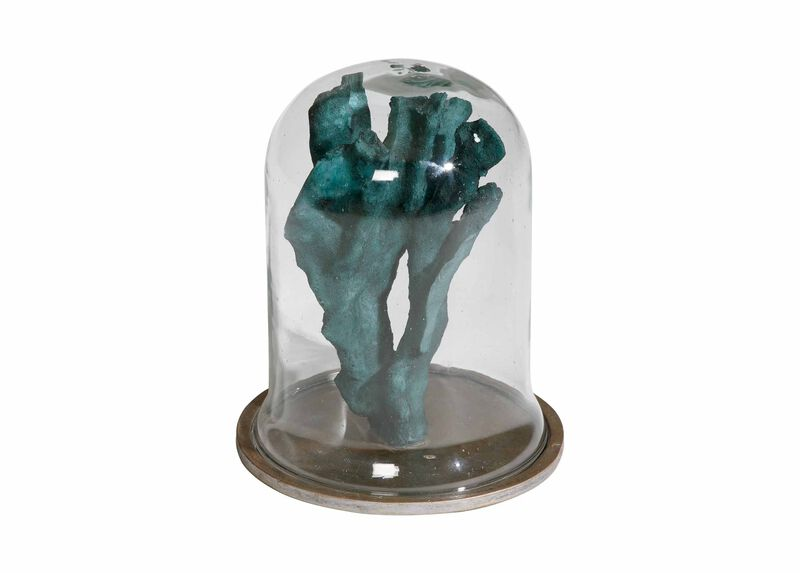 Teal Finger Coral In Cloche by Ethan Allen