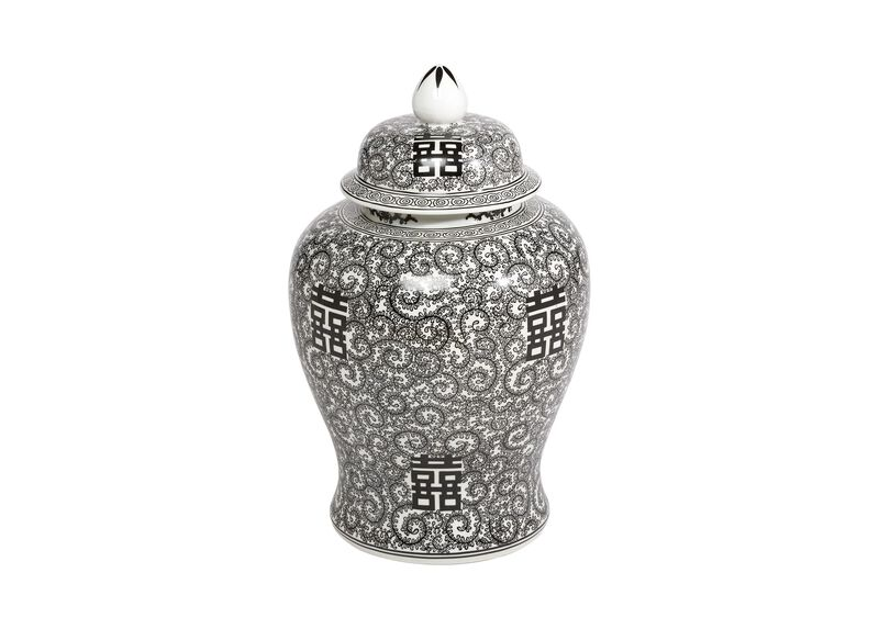 Black and White Temple Jar