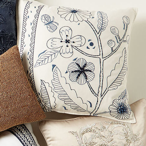 Botanical Embroidered Pillow Product Tile Hover Image 065688