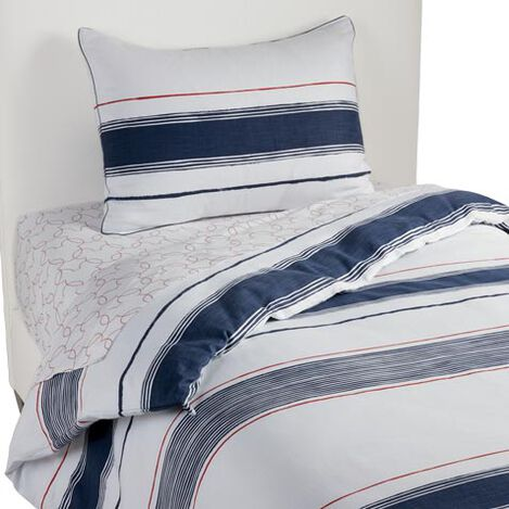 Mixed Stripe Duvet Cover and Sham, Midnight Blue ,  , large