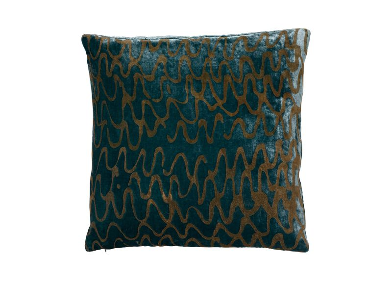 Ripple Pillow, Aqua/Gold | Tuggl