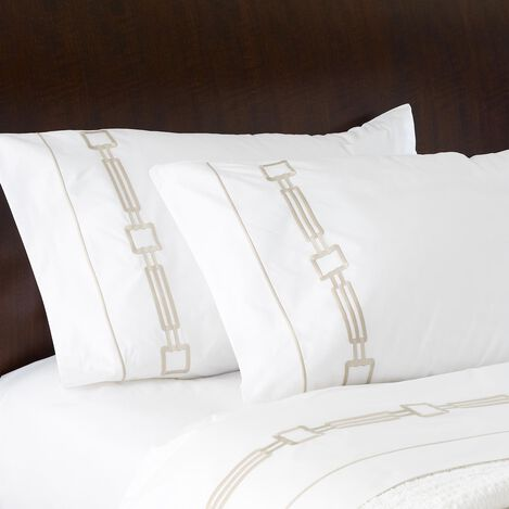 Camdyn Embroidered King Pillowcases, White/Flax ,  , large