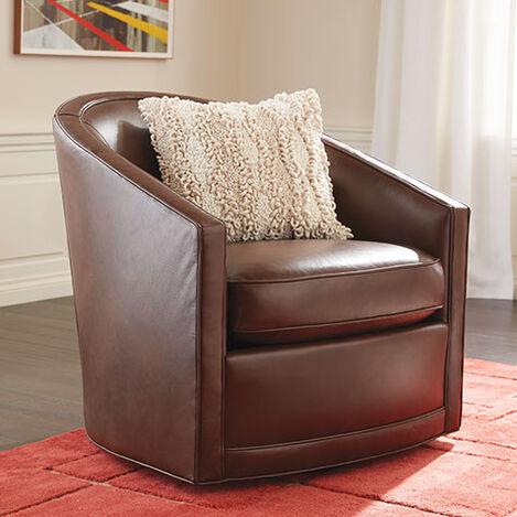 Baylee Leather Barrel-Back Swivel Chair Product Tile Hover Image 722519
