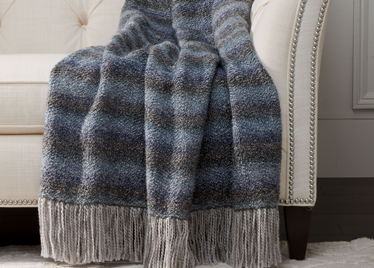 Chevron Knit Throw, Denim Blue | Throw | Ethan Allen