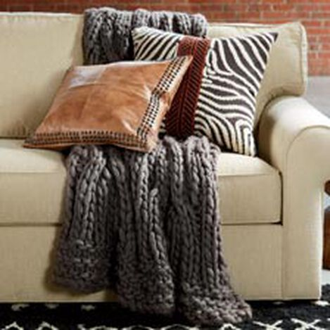 Cross Cable Knit Throw, Dark Brown ,  , hover_image