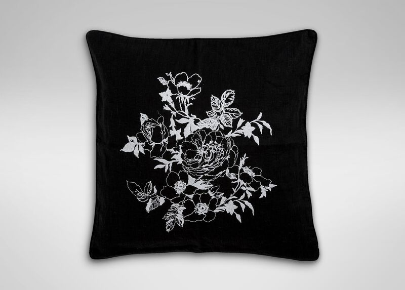 Black and White Floral Embroidered Linen Pillow | Tuggl