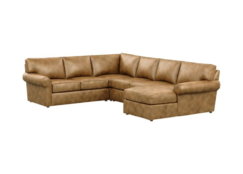 Retreat Leather Roll-Arm Four-Piece Sectional with Chaise