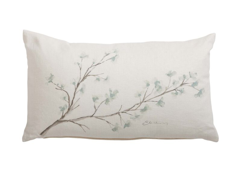 Hand-Painted Mineral Blossom Pillow