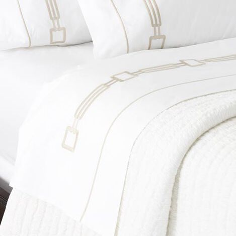 Camdyn Embroidered Flat Sheets, White/Flax ,  , large