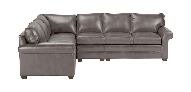 Bennett Roll-Arm Four-Piece Leather Sectional, Quick Ship