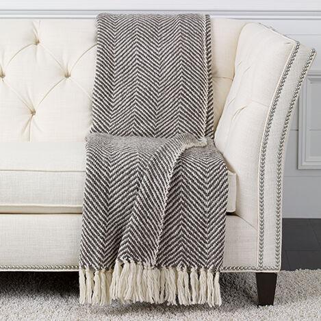 Herringbone Knit Throw, Brown/White ,  , large