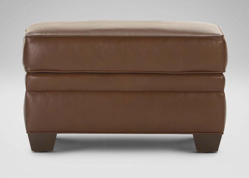 Bennett Leather Ottoman ,  , large_gray