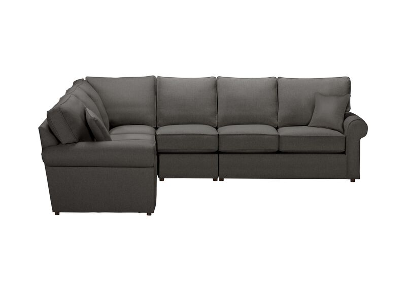 Retreat Roll-Arm Four Piece Sectional, Quick Ship , Hailey Charcoal (Q1055), solid texture , large_gray