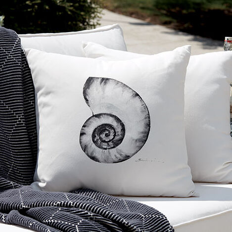 Black and White Nautilus Outdoor Pillow Product Tile Hover Image 404701