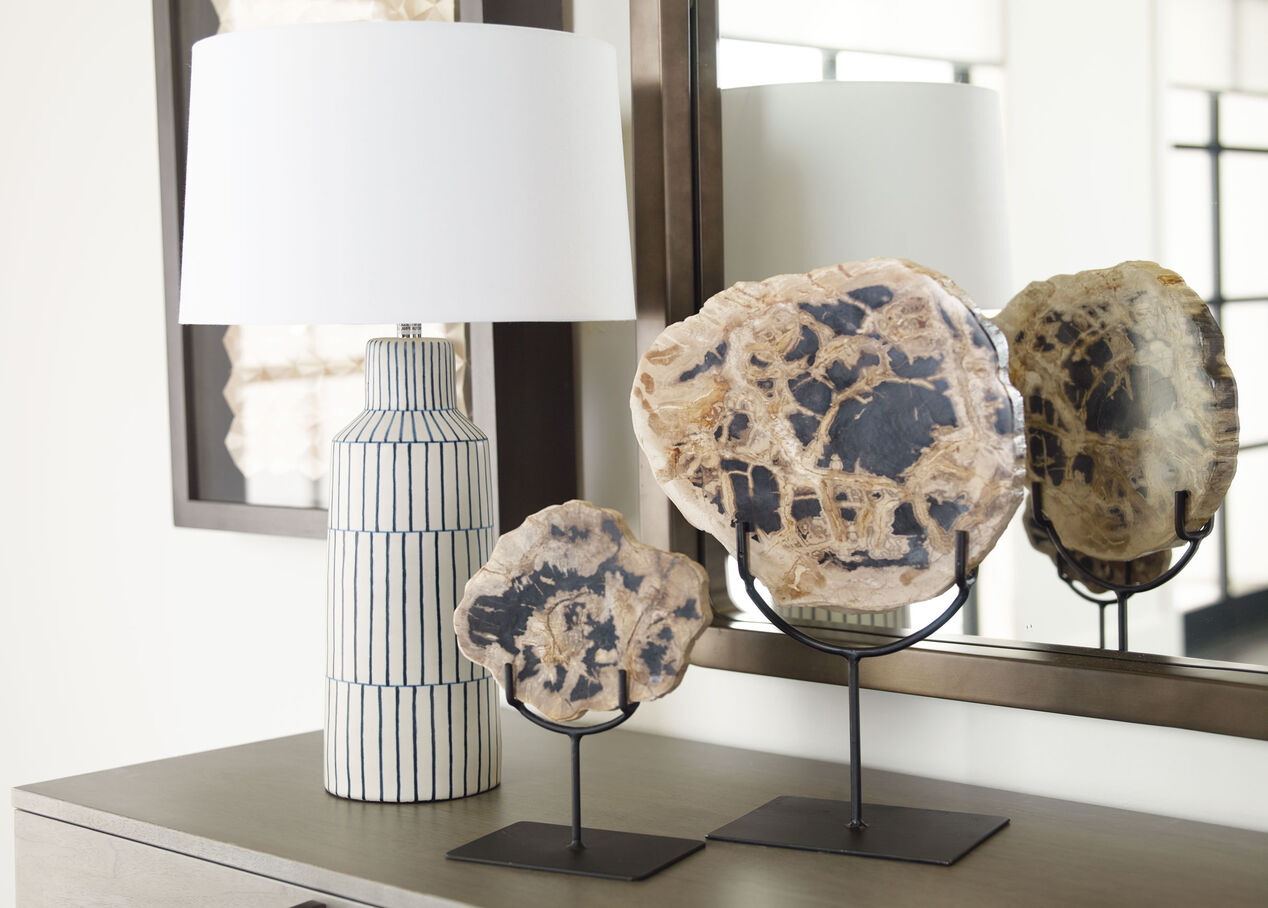 Meraki Striped Blue and White Sometsuke Table Lamp | Ethan Allen