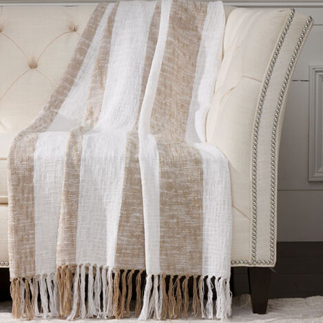 Taupe Striped Throw ,  , large