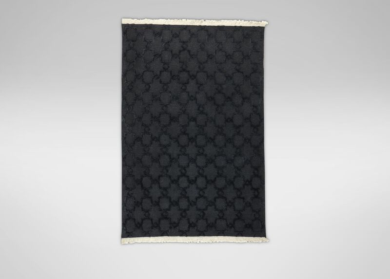 Lattice Soumak Rug, Black ,  , large_gray