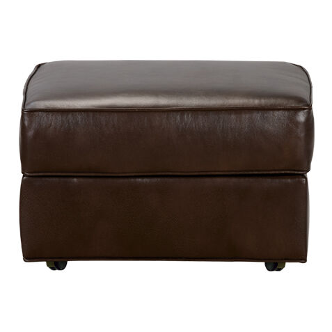 Merveilleux Retreat Leather Ottoman, Quick Ship