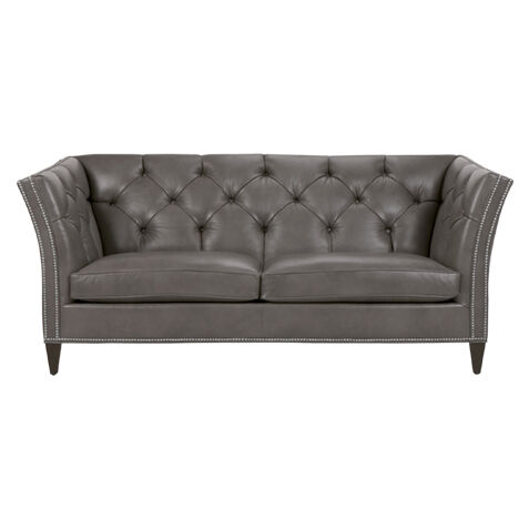Delightful Shelton Leather Sofa, Quick Ship