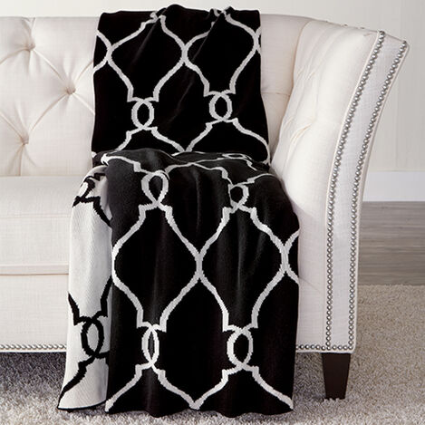Black and Ivory Fretwork Throw ,  , large