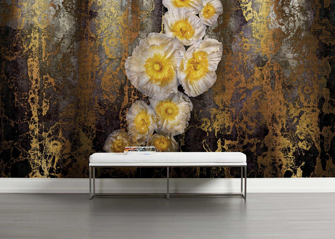Serafina Abstract Poppies Gold Wall Mural Ethan Allen