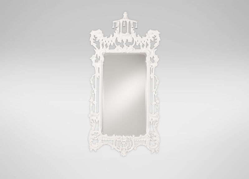 Gloss White Chinoiserie Mirror ,  , large_gray