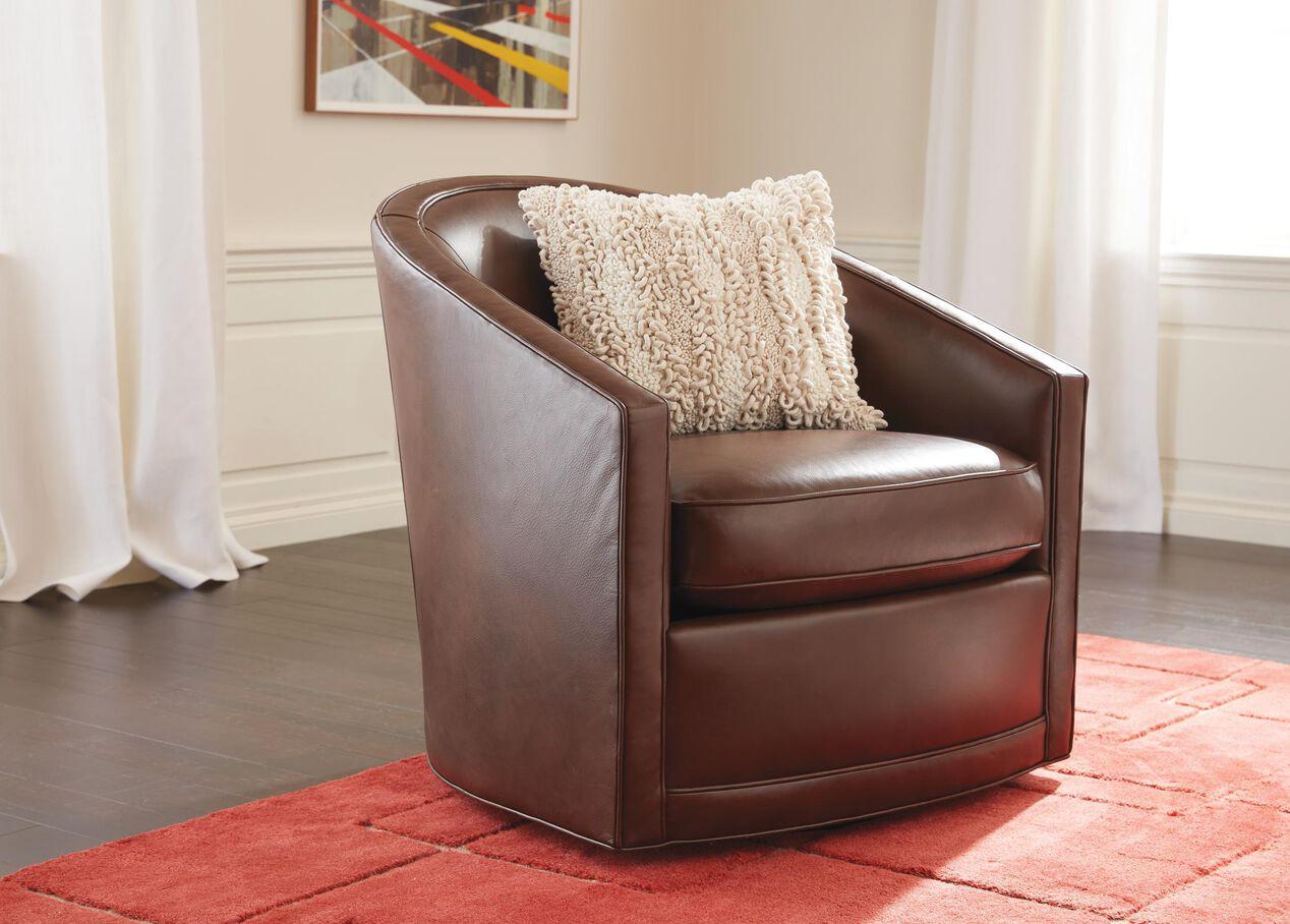 Baylee Leather Upholstered Barrel Back Swivel Chair Ethan Allen
