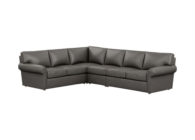 Retreat Leather Roll-Arm Four-Piece Sectional