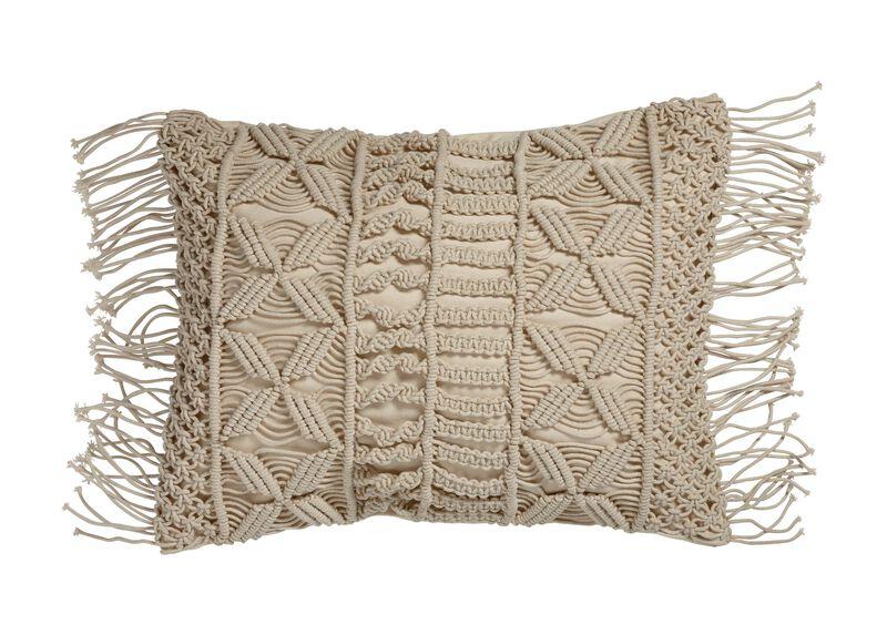 Macramé Fringed Pillow
