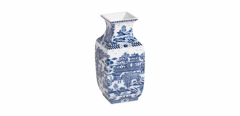 Blue and White Square Vase