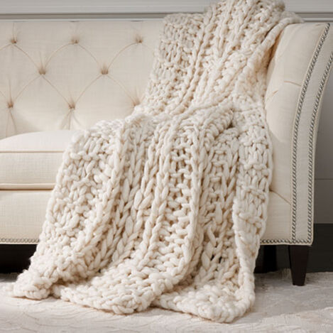 Cross Cable Knit Throw, Ivory ,  , large