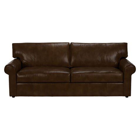 Merveilleux Retreat Roll Arm Leather Sofa, Quick Ship