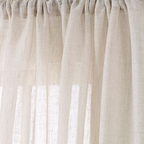 Ivory Linen Sheer Fabric ,  , large