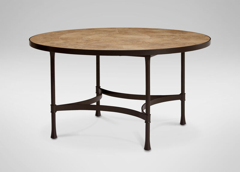 Biscayne Round Dining Table with Light Porcelain Top ,  , large_gray