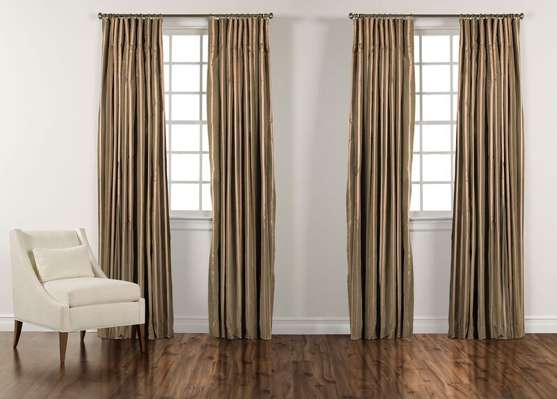 Moss Green and Gold Taffeta Stripe Inverted Pleat Panel ,  , large_gray